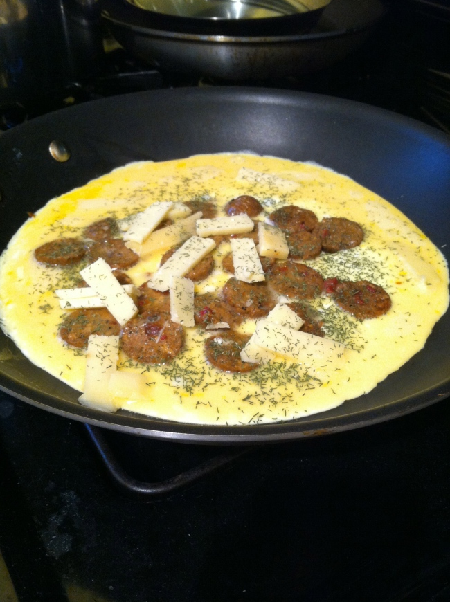 sausage popover omelette