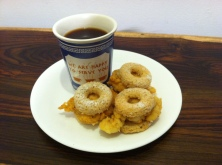donut sammies and coffee dip